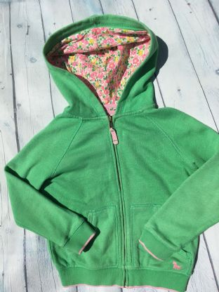 Mini Boden green zip up hoodie with floral lining in the hood age 6-7